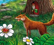 Elf looks at the fox and the cute ladybug