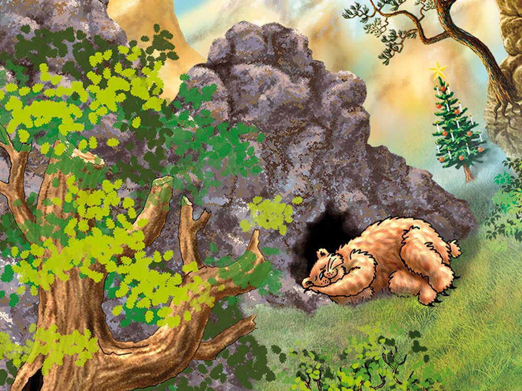 The bear sleeps in front of its bear cave