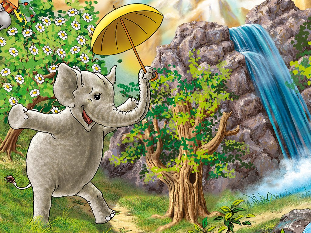 The elephant with an umbrella